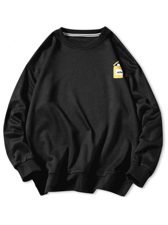fashion Cartoon Cats Print Pullover Sweatshirt - BLACK L