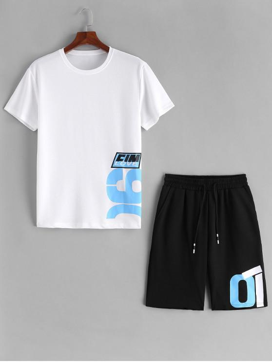 trendy Number Letter Graphic Print T-shirt and Shorts Suits - WHITE S