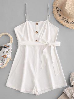 ZAFUL Button Belt Cami Romper - White S