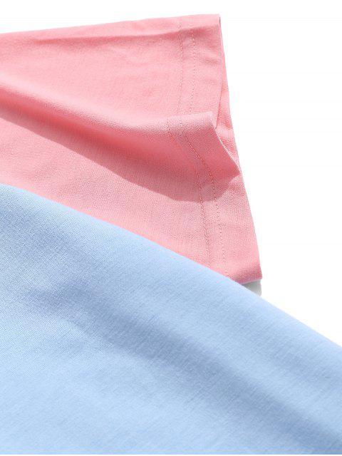 Camiseta de manga corta con paneles de bloques de color ZAFUL - Celeste 2XL Mobile