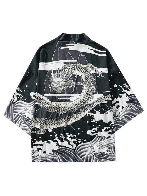 Cardigan Kimono Dragon et Vague Imprimés Sans Col - Noir XL Mobile