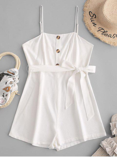 outfit ZAFUL Button Belt Cami Romper - WHITE S Mobile