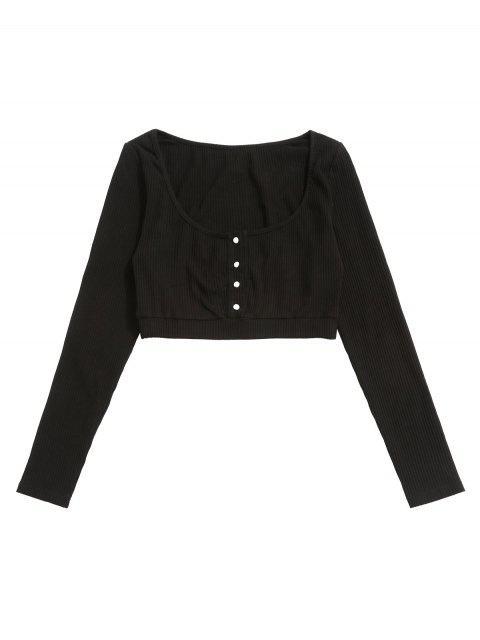 ZAFUL medio acanalado recortada de la camiseta - Negro S Mobile