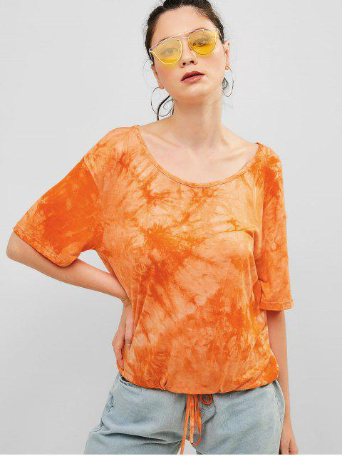 ZAFUL Drawstring Tie Dye camiseta deportiva - Multicolor-A S Mobile