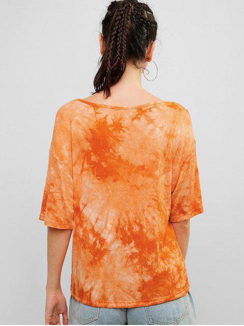 ZAFUL Drawstring Tie Dye camiseta deportiva - Multicolor-A L Mobile