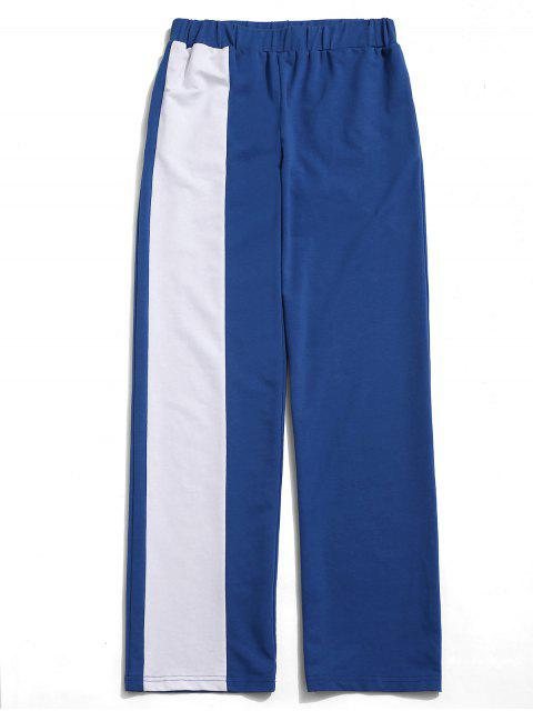ZAFUL Color Block bolsillo pantalones rectos - Azul de Arándanos M Mobile