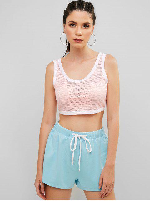 Conjunto de pantalones cortos con cordón perforado con bloques de color perforado - Cerdo Rosa S Mobile