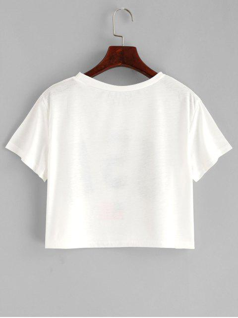 best American Flag Letter Graphic Crop Tee - WHITE S Mobile