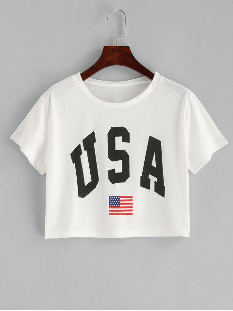 shops American Flag Letter Graphic Crop Tee - WHITE L Mobile