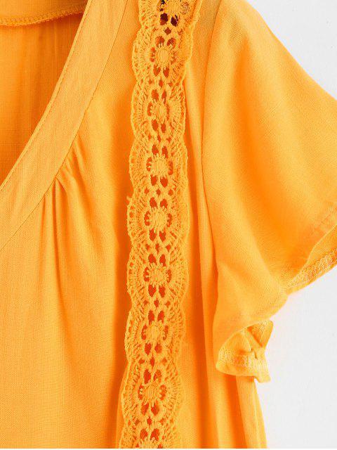Mini Robe Boutonnée Panneau en Dentelle - Verge d'Or S Mobile