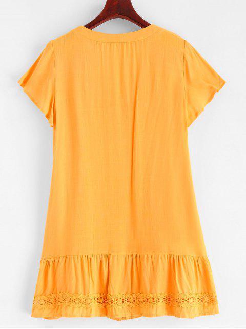 Mini Robe Boutonnée Panneau en Dentelle - Verge d'Or L Mobile