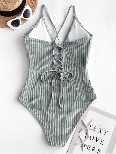 shop ZAFUL Velvet Ribbed Lace Up Swimsuit - PALE BLUE LILY L Mobile