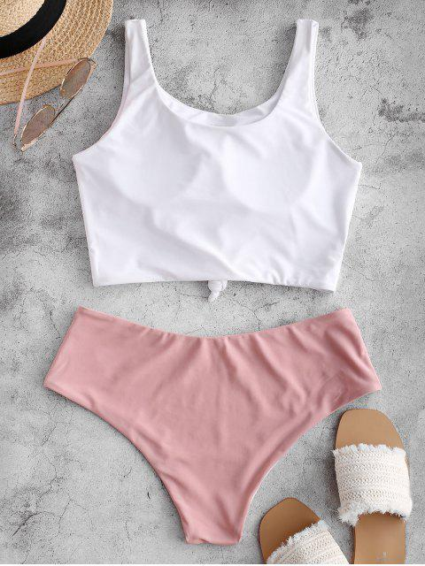 ZAFUL Ensemble de Tankini Noué en Blocs de Couleurs - Rose clair XL Mobile