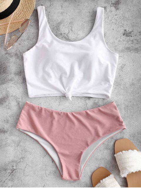 online ZAFUL Knotted Color Block Tankini Set - LIGHT PINK XL Mobile