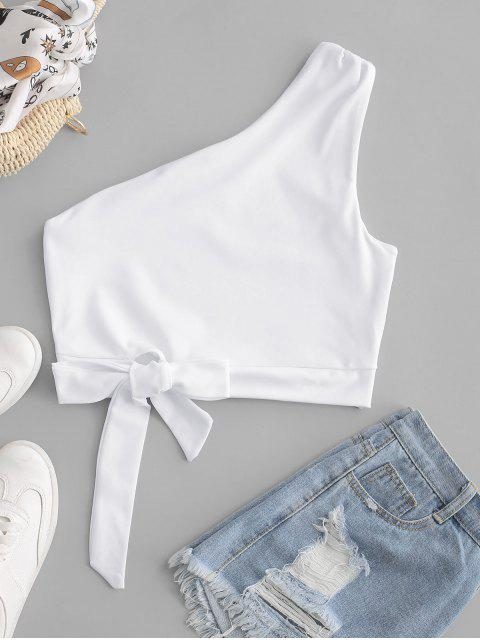 latest One Shoulder Knotted Crop Tank Top - WHITE S Mobile