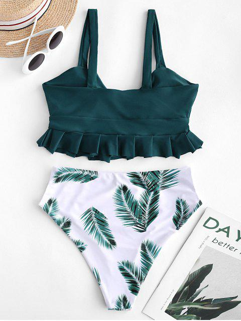 online ZAFUL Ruffle Knot Leaf Print Tankini Swimsuit - PEACOCK BLUE L Mobile