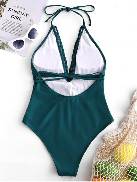 ZAFUL الرسن الكروشيه إدراج عارية الذراعين ملابس السباحة - الطاووس الأزرق XL Mobile