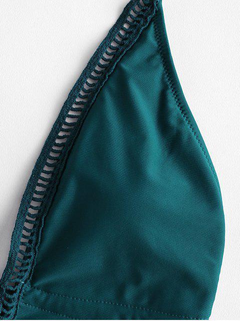 women's ZAFUL Halter Crochet Insert Backless Swimsuit - PEACOCK BLUE L Mobile