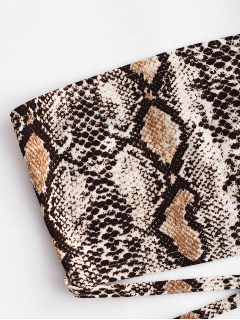 trendy ZAFUL Criss Cross Snake Print Bandeau Crop Top - MULTI S Mobile