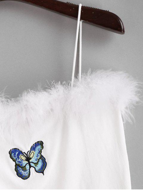 shops Butterfly Embroidered Furry Cami Top - WHITE S Mobile