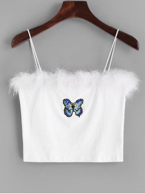 affordable Butterfly Embroidered Furry Cami Top - WHITE M Mobile