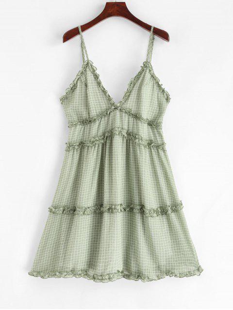 ladies Ruffle Trim Gingham Tiny Floral A Line Cami Dress - DARK SEA GREEN S Mobile