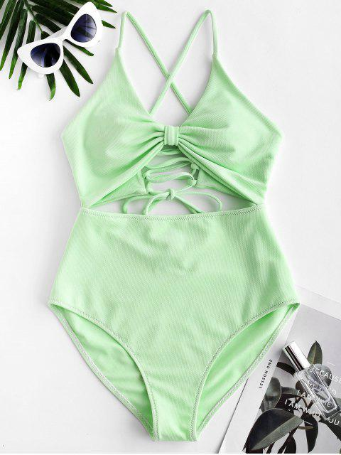 women ZAFUL Textured Lace-up Cutout One-piece Swimsuit - MINT GREEN M Mobile