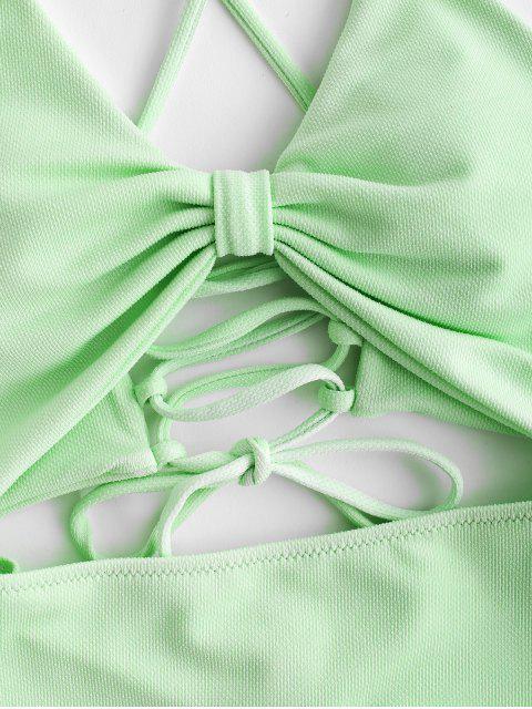 ZAFUL Traje de baño de una pieza con corte de cordones y textura - Verde Menta XL Mobile