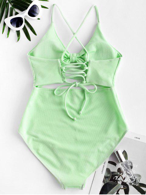 ZAFUL紋理繫帶鏤空連體泳衣 - 薄荷綠 XL Mobile