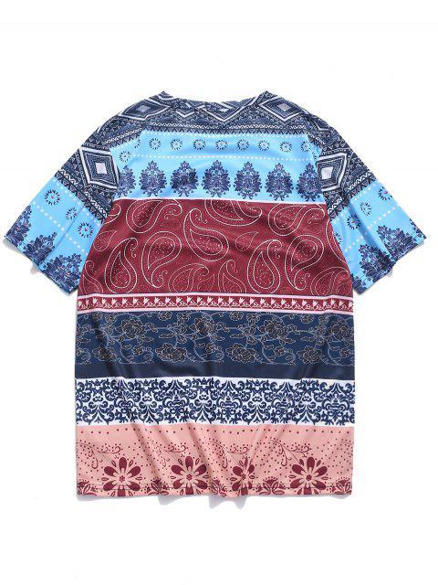 Camiseta con estampado floral tribal étnico de Paisley - Multicolor 4XL Mobile