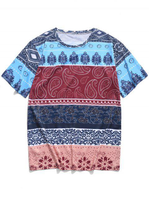 Camiseta con estampado floral tribal étnico de Paisley - Multicolor M Mobile