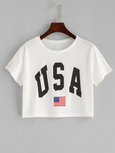 95cc40a41 American Flag Letter Graphic Crop Tee - White Xl ...