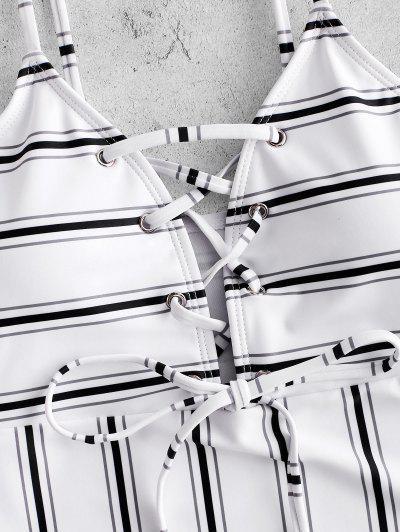 ZAFUL Striped Lace Up High Leg Swimsuit, Multi-a
