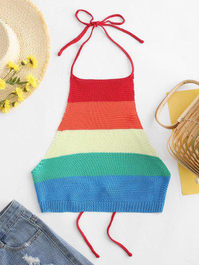 ZAFUL Cropped Tied Back Colorful Stripes Tank Top