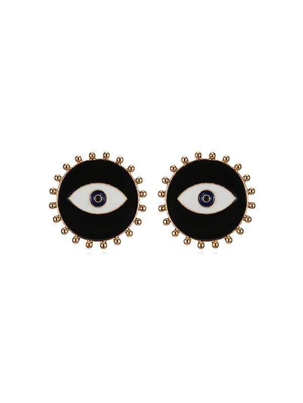 Eye Shape Round Stud Earrings, Black