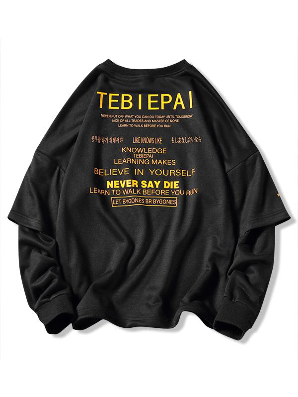 Letters Print Layered Sleeve Pullover Sweatshirt, Black