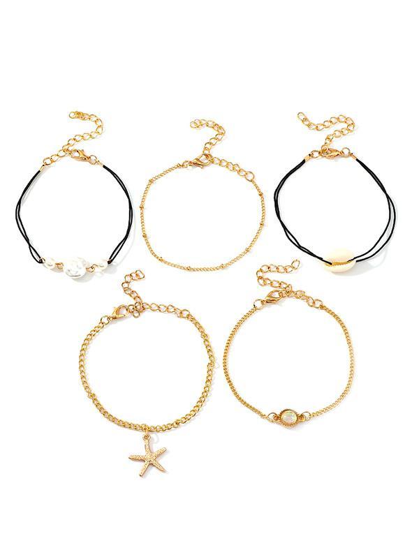 5Pcs Shell Starfish Bracelet Set