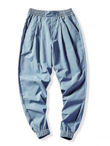 الصلبة اللون سروال رياضة عداء ببطء - أزرق فاتح L