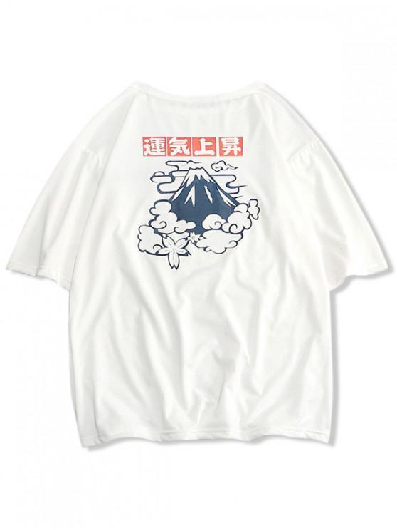Camiseta con estampado de hip-hop con estampado de letras - Blanco XS