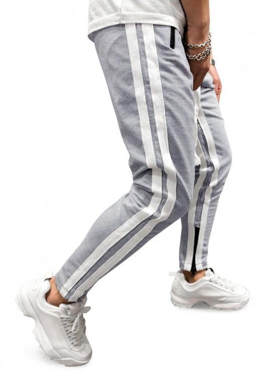 unique Stripes Paneled Side Zipper Sport Pants - GRAY CLOUD 2XL