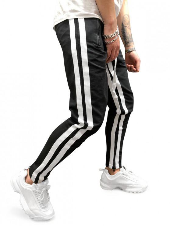 Pantalones deportivos con cremallera lateral con paneles de rayas - Multicolor-C 2XL