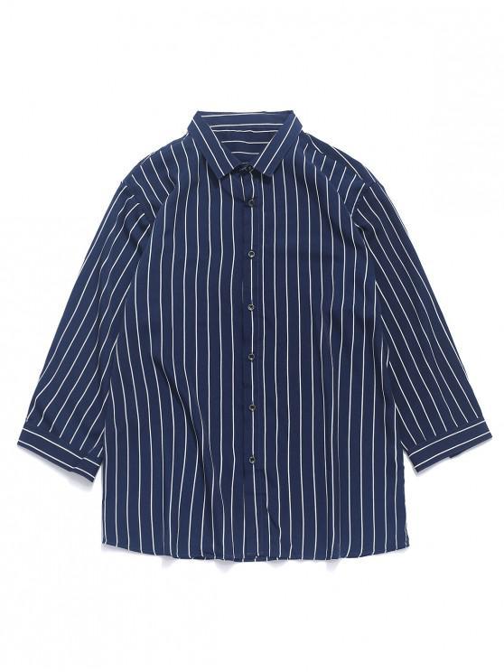 best Striped Print Curved Hem Button Shirt - MIDNIGHT BLUE L
