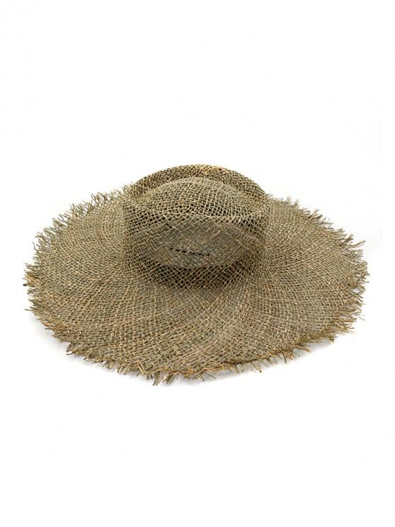 womens Beach Frayed Hem Wide Brim Straw Hat - KHAKI