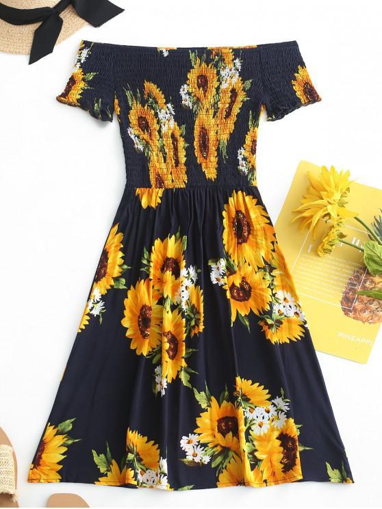 unique ZAFUL Smocked Sunflower Off Shoulder Dress - DARK SLATE BLUE S