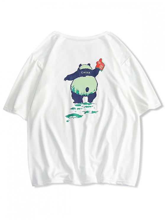 T-shirt Panda Imprimé à Col Rond - Blanc Lait S