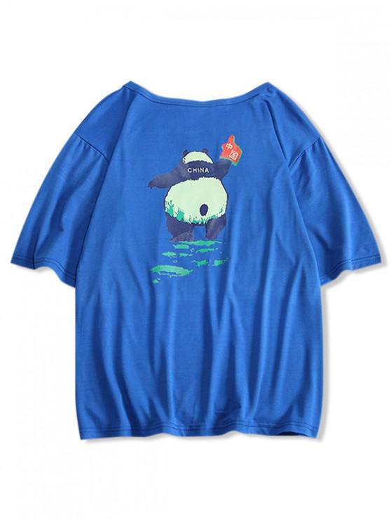 shop Panda Print Round Neck T-shirt - DENIM DARK BLUE XS