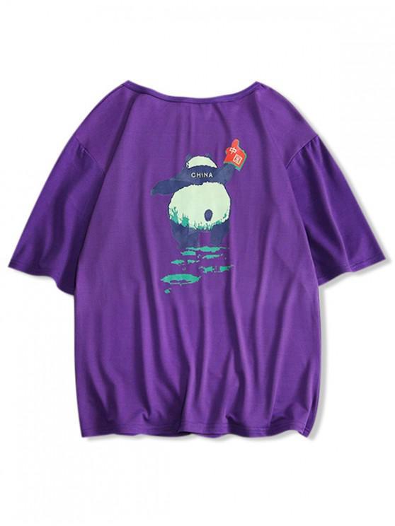 Camiseta con cuello redondo y estampado panda - Flor de Lirio Morado S