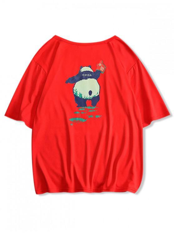 chic Panda Print Round Neck T-shirt - RED S
