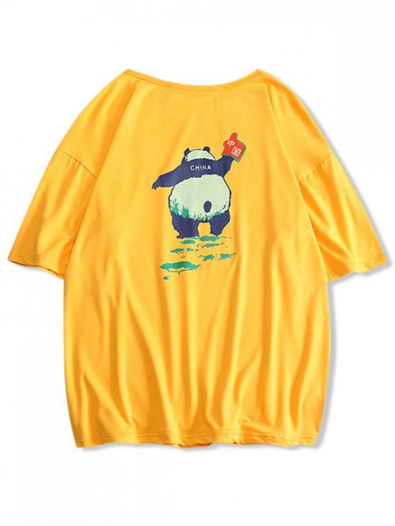 unique Panda Print Round Neck T-shirt - GOLDENROD S