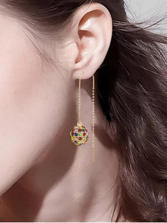 women Rhinestone Ball Pull Through Earrings - GOLD